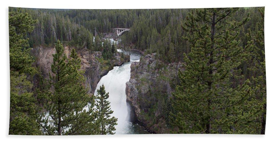 Yellowstone National Park Bath Towel featuring the photograph Upper Yellowstone Falls by Linda Kerkau