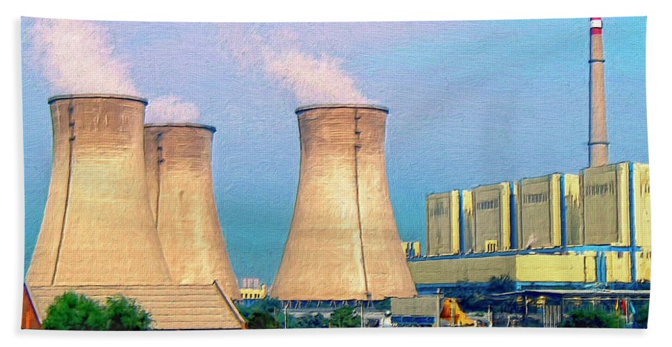 Nuclear Power Hand Towel featuring the painting Upscale Neighborhood by Dominic Piperata