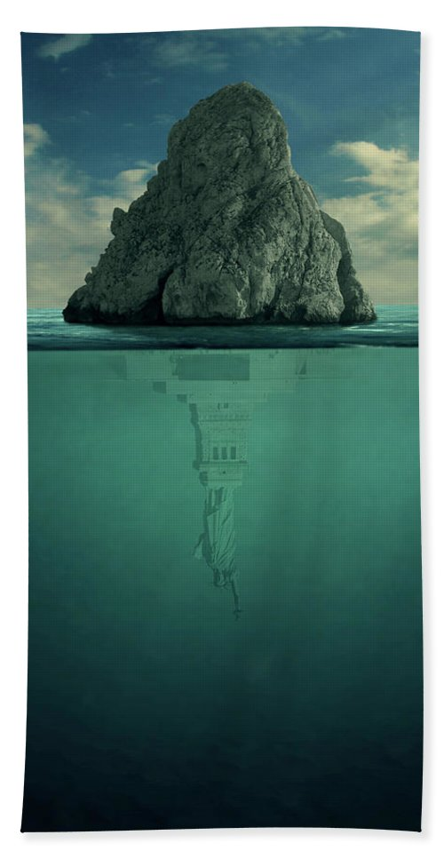 Down Bath Towel featuring the digital art Upside Down by Zoltan Toth