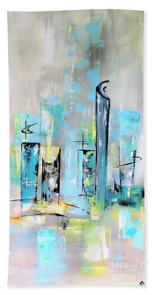 Mid-century Hand Towel featuring the painting Uptown Mid-century Modern Abstract Art by Angela Bisson
