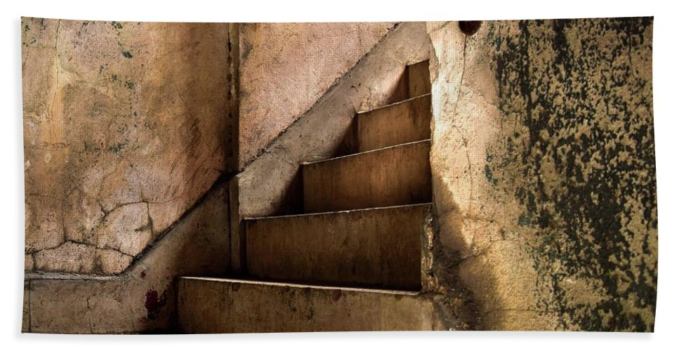 Stairs Bath Sheet featuring the photograph Uptown Stairs by Robb Shaffer