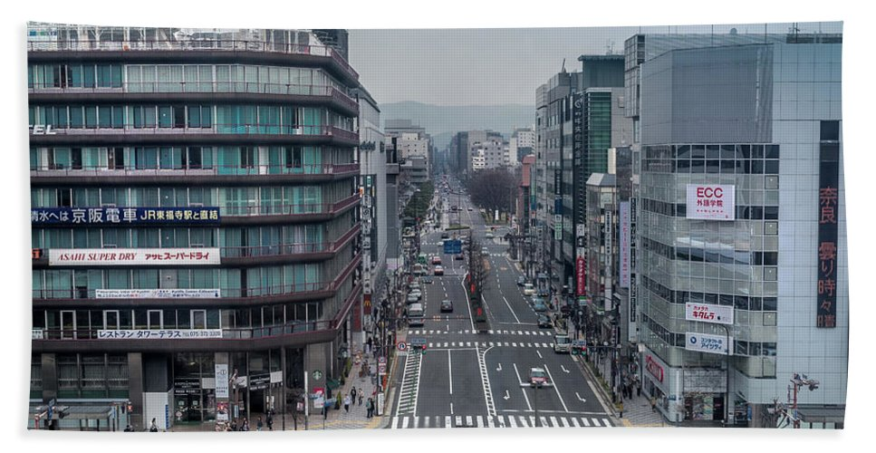 Kyoto Hand Towel featuring the photograph Urban Avenue, Kyoto Japan by Perry Rodriguez