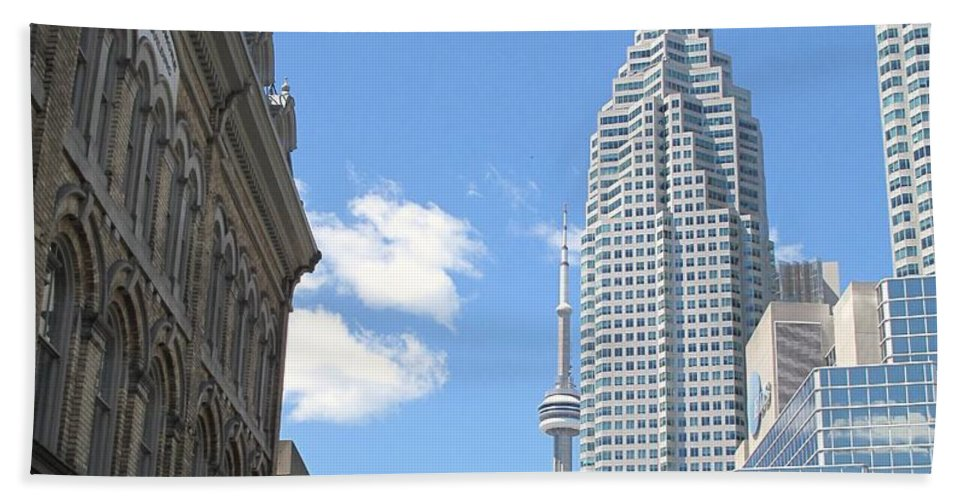 Front Street Hand Towel featuring the photograph Urban Canyon by Ian MacDonald