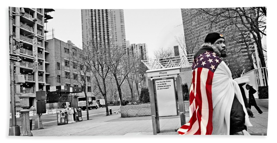 Man Bath Sheet featuring the photograph Urban Flag Man by Madeline Ellis
