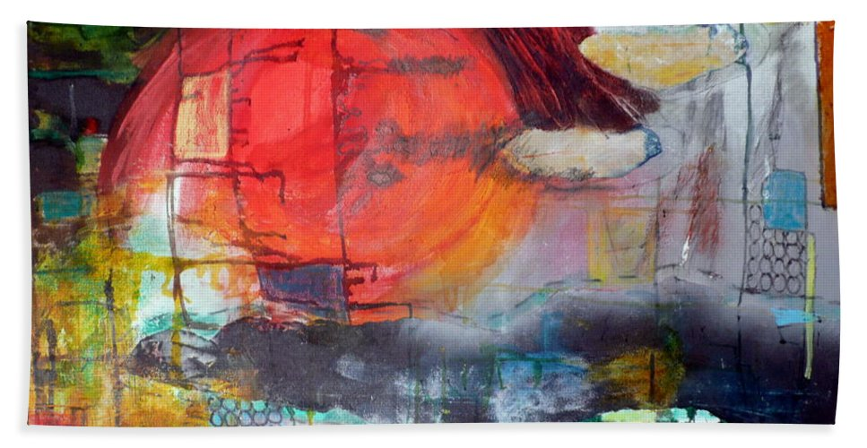 Abstract Landscape Hand Towel featuring the mixed media Urban Myth by Jane Clatworthy