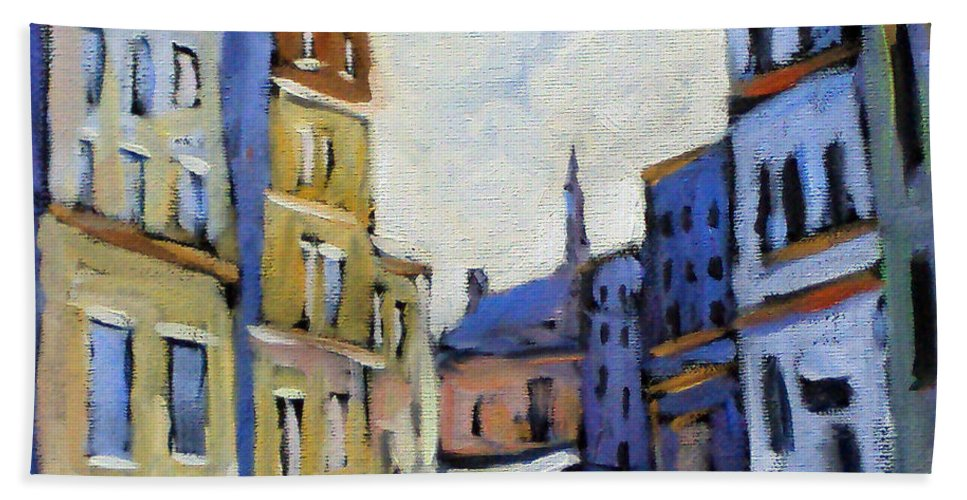 Town Hand Towel featuring the painting Urban Streets by Richard T Pranke