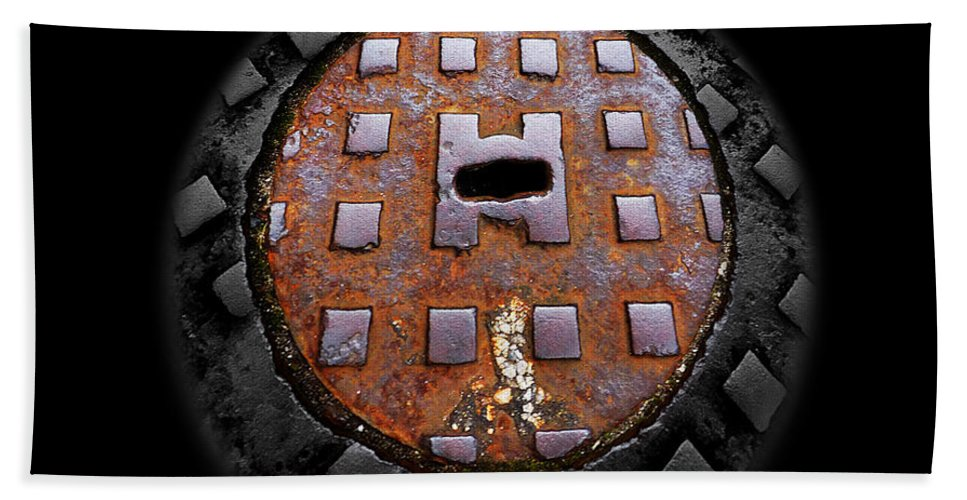 Manhole Bath Sheet featuring the photograph Urban Voice Button by Charles Stuart