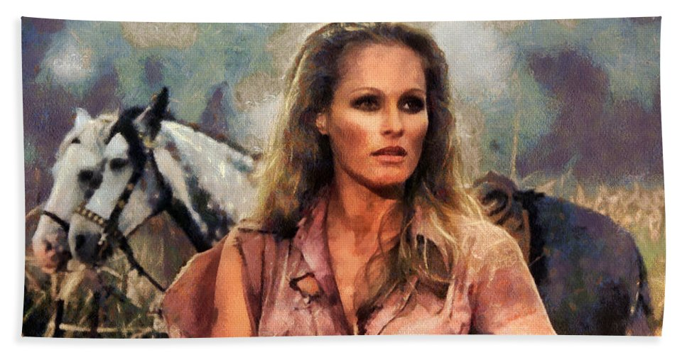 Ursula Andress Print Hand Towel featuring the photograph Ursula Andress by Sergey Lukashin