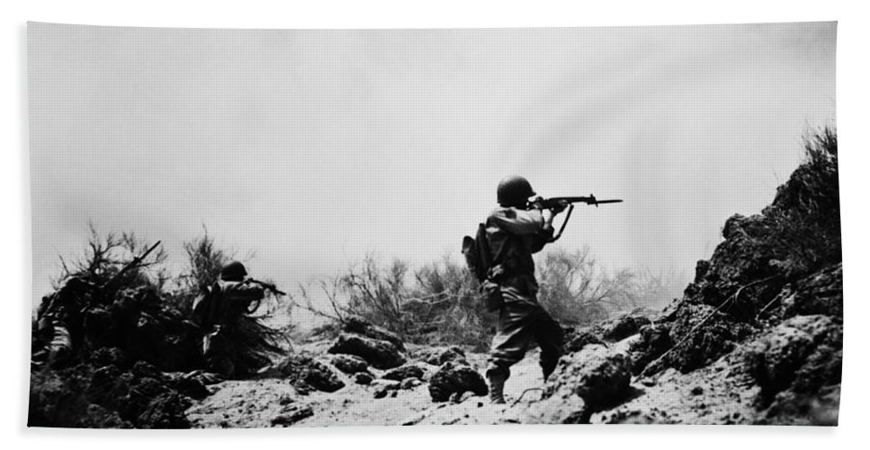 1940s Bath Sheet featuring the photograph U.s. Army Soldier by H. Armstrong Roberts/ClassicStock