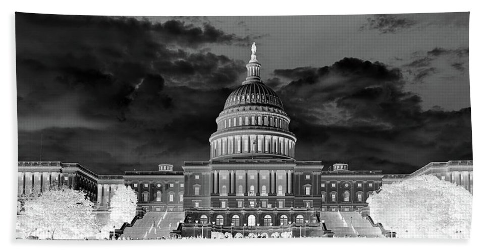 Congress Hand Towel featuring the photograph Us Capitol Washington Dc Negative by Kimberly Blom-Roemer