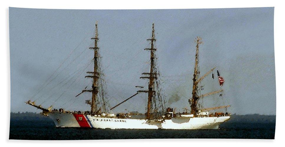 U.s. Coast Guard Bath Sheet featuring the painting U.s. Coast Guard Eagle by David Lee Thompson