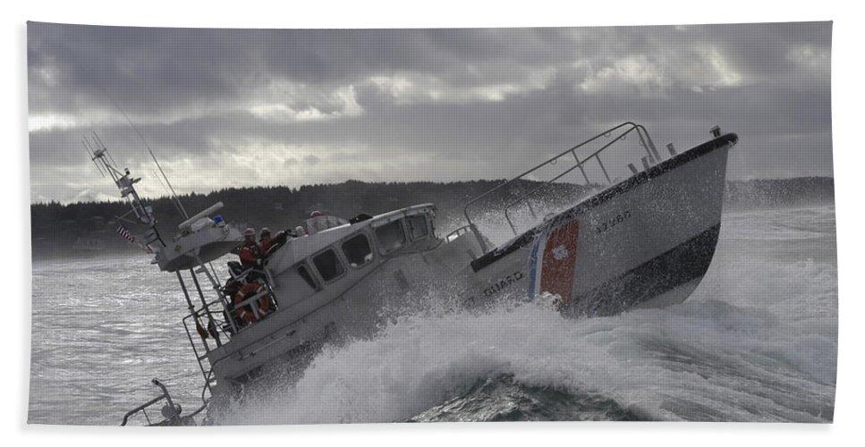 Horizontal Hand Towel featuring the photograph U.s. Coast Guard Motor Life Boat Brakes by Stocktrek Images
