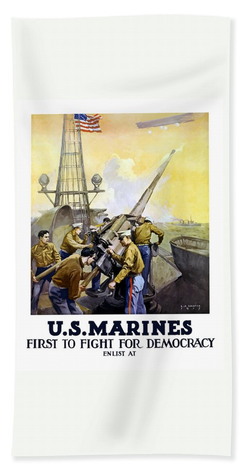 Marines Hand Towel featuring the painting Us Marines -- First To Fight For Democracy by War Is Hell Store