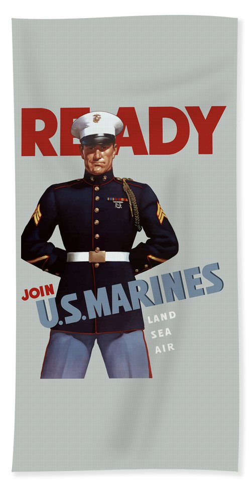 Marine Recruiting Bath Towel featuring the painting Us Marines - Ready by War Is Hell Store