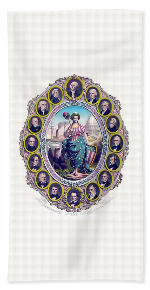 Presidents Hand Towel featuring the drawing Us Presidents And Lady Liberty by War Is Hell Store