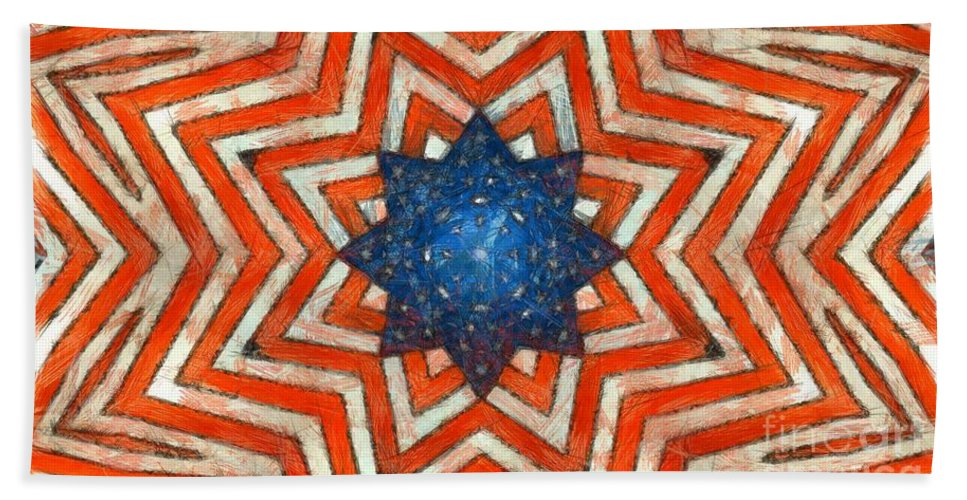 Usa Hand Towel featuring the digital art Usa Abstract by Edward Fielding
