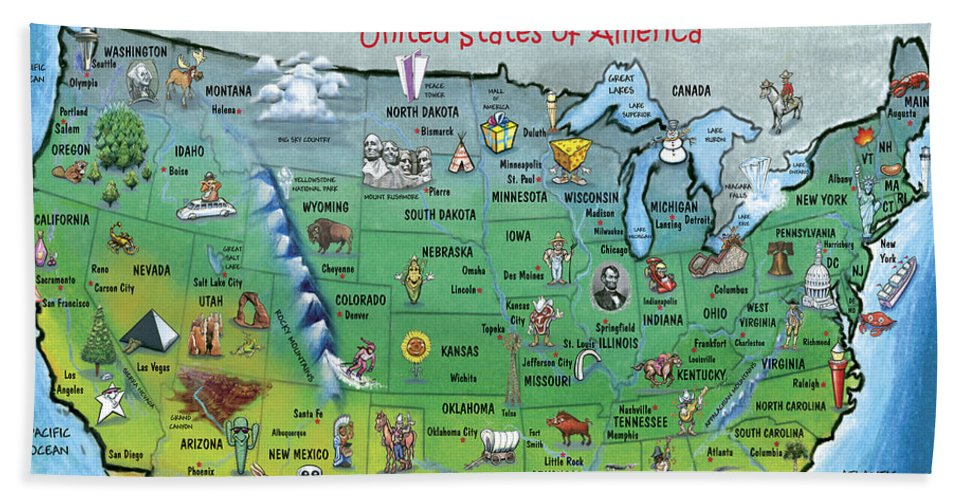 Map Bath Towel featuring the painting Usa Cartoon Map by Kevin Middleton