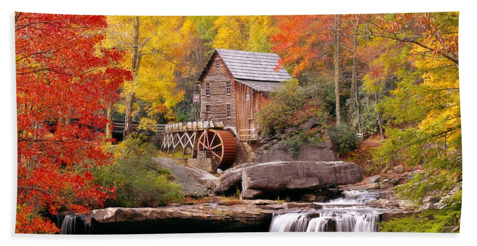 Photography Bath Towel featuring the photograph Usa, West Virginia, Glade Creek Grist by Panoramic Images
