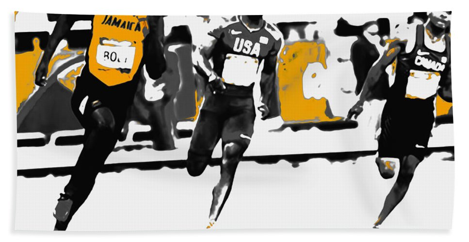 Usain Bolt Hand Towel featuring the mixed media Usain Bolt Bringing It Home by Brian Reaves