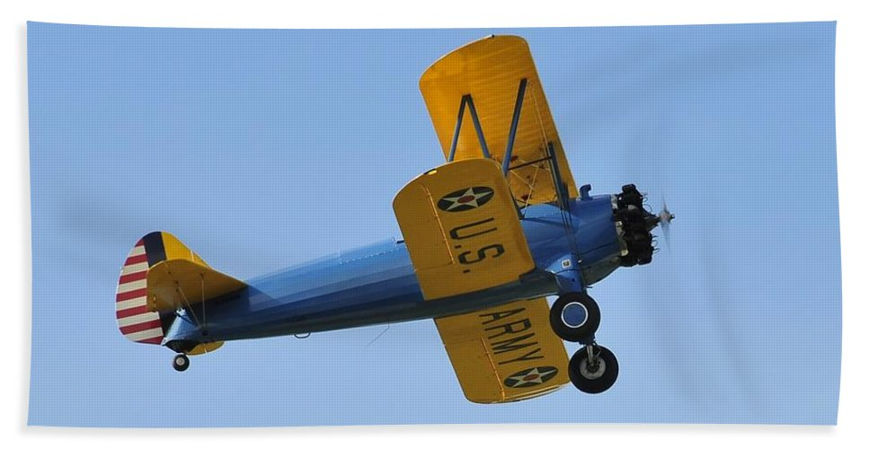 Biplane Hand Towel featuring the photograph U.s.army Biplane by David Lee Thompson