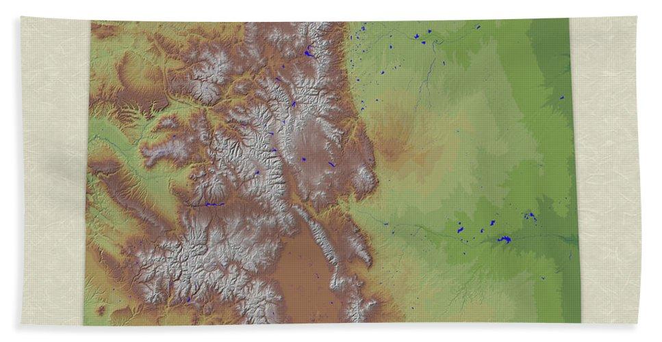 Colorado Bath Sheet featuring the digital art Usgs Map Of Colorado by Elaine Plesser