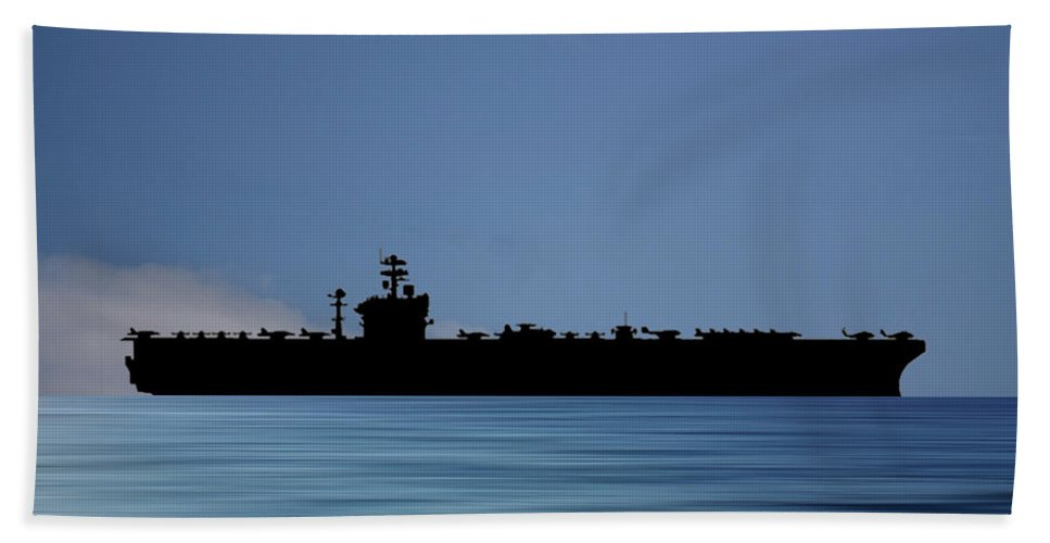Uss Abraham Lincoln Bath Towel featuring the photograph USS Abraham Lincoln 1988 v4 by Smart Aviation