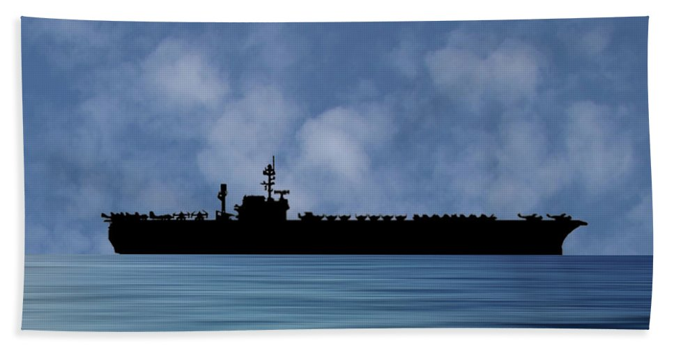 Uss Constellation Hand Towel featuring the photograph Uss Constellation 1956 V1 by Smart Aviation
