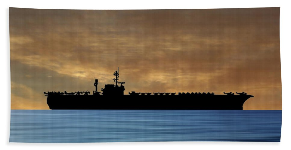 Uss Constellation Hand Towel featuring the photograph Uss Constellation 1956 V2 by Smart Aviation