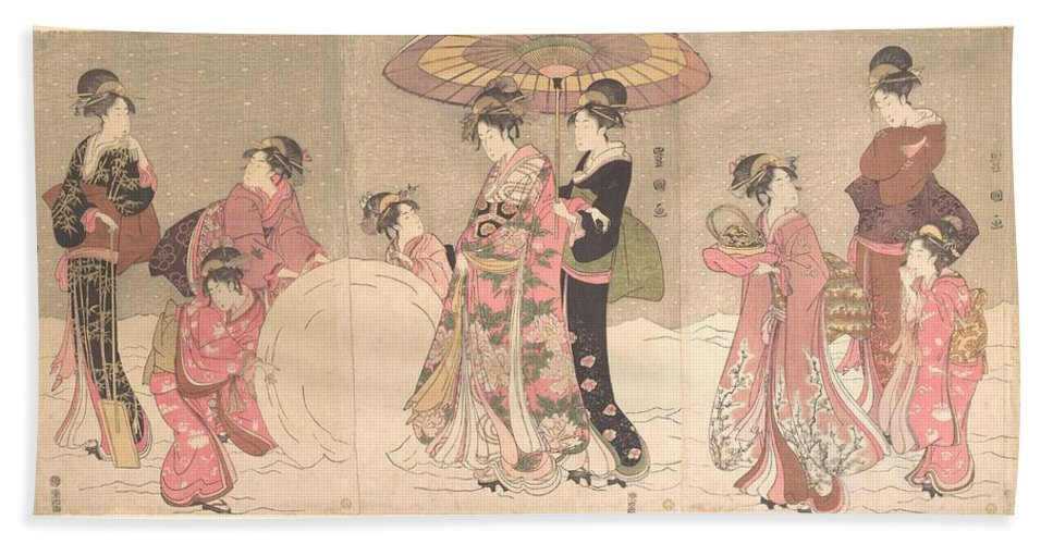 Utagawa Toyokuni I  Courtesans And Attendants Playing In The Snow Hand Towel featuring the digital art Utagawa Toyokuni I  Courtesans And Attendants Playing In The Snow by Anne Pool