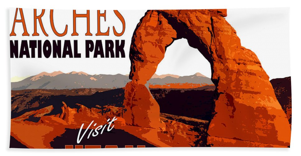 Utah Hand Towel featuring the painting Utah, Arches, National Park by Long Shot