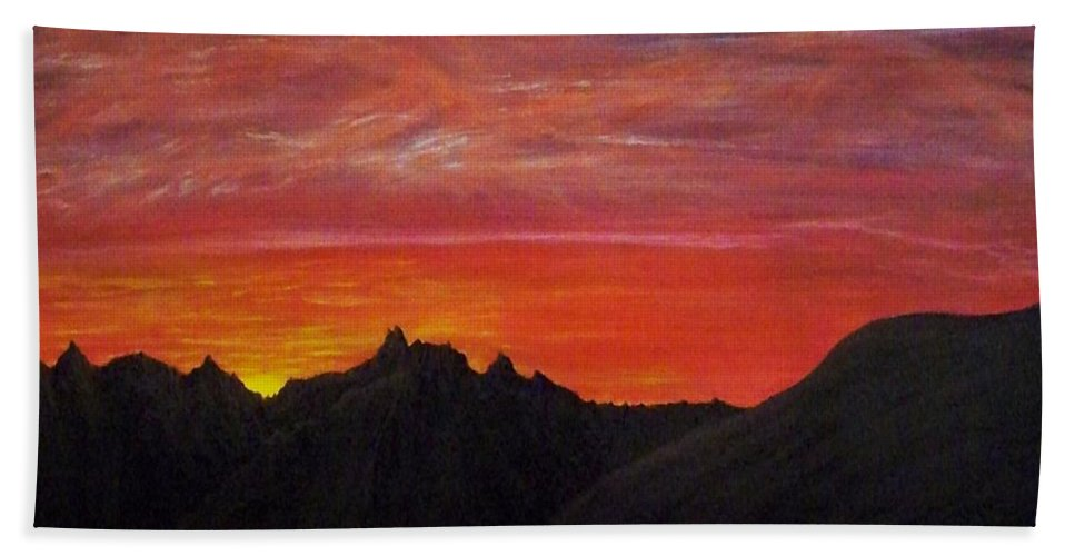 Sunset Hand Towel featuring the painting Utah Sunset by Michael Cuozzo