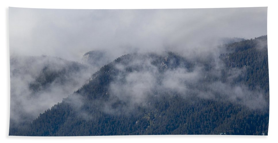 Ute Pass Bath Sheet featuring the photograph Ute Pass As Storm Clouds And Fog Roll In by Steve Krull