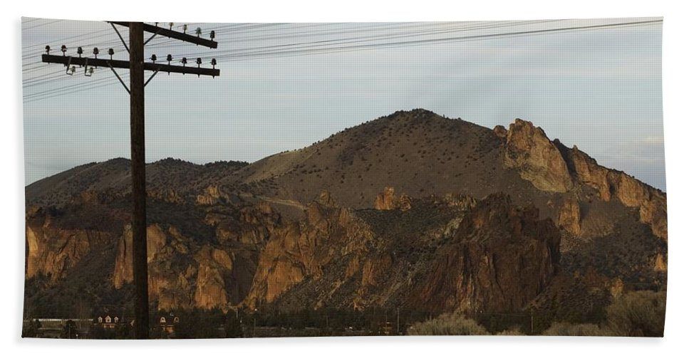 Smith Rock Hand Towel featuring the photograph Utility Pole by Sara Stevenson
