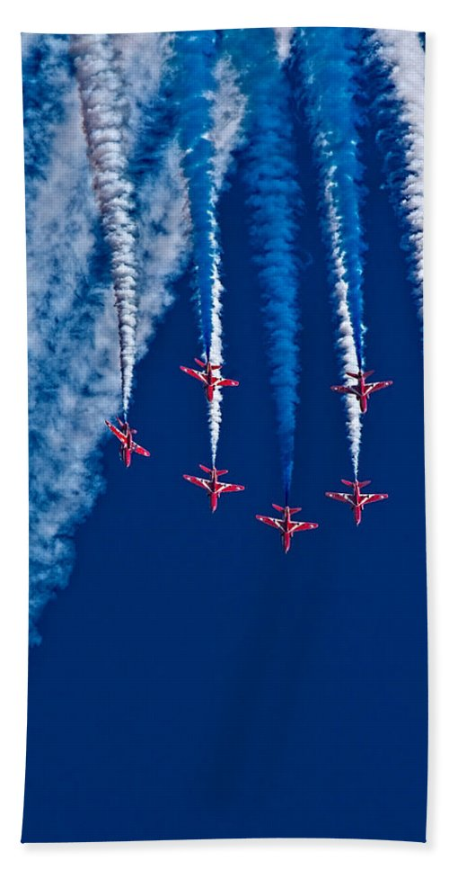 Red Arrows Hand Towel featuring the photograph Vaaazooooom by Chris Lord