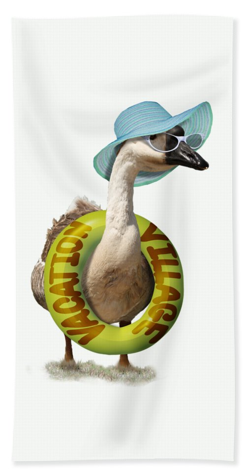 Goose Bath Sheet featuring the mixed media Vacation Time For Summer Goose by Gravityx9 Designs