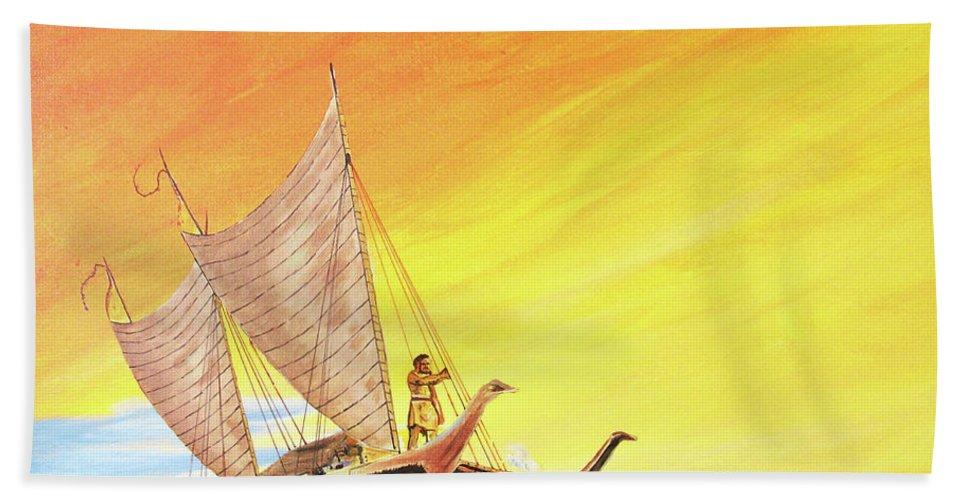John Moon Paintings Hand Towel featuring the painting Vaka Taurua by John Moon