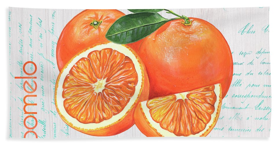 Orange Hand Towel featuring the painting Valencia 1 by Debbie DeWitt