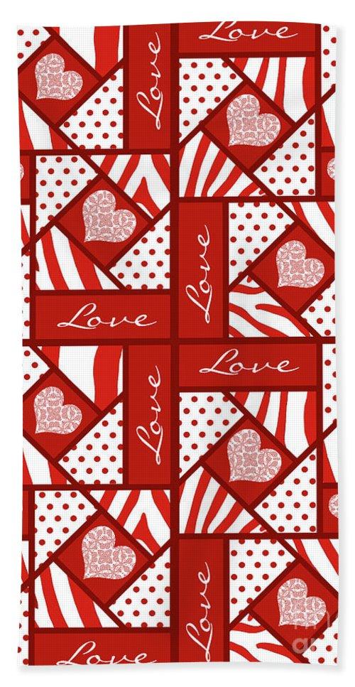 Valentine 4 Square Quilt Block Bath Sheet featuring the digital art Valentine 4 Square Quilt Block by Methune Hively