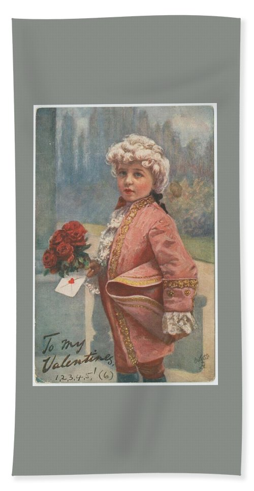 Valentine In The Victorian Era Hand Towel featuring the painting Valentine In The Victorian Era by Pd