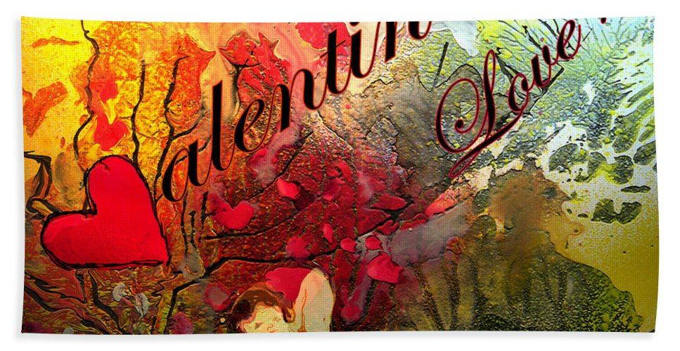 Valentine Hand Towel featuring the painting Valentine by Miki De Goodaboom