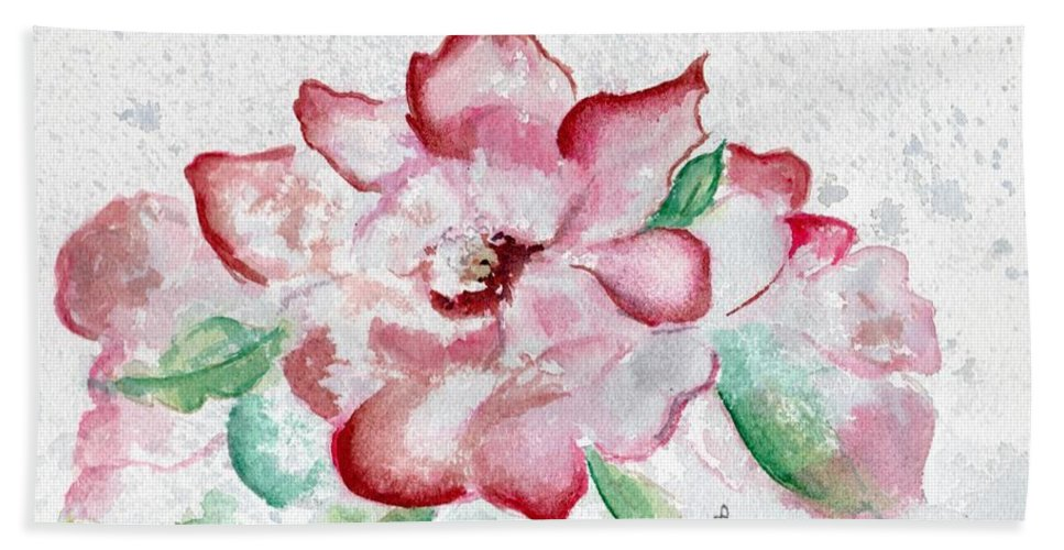Watercolor Bath Sheet featuring the painting Valentine Rose by Brenda Owen