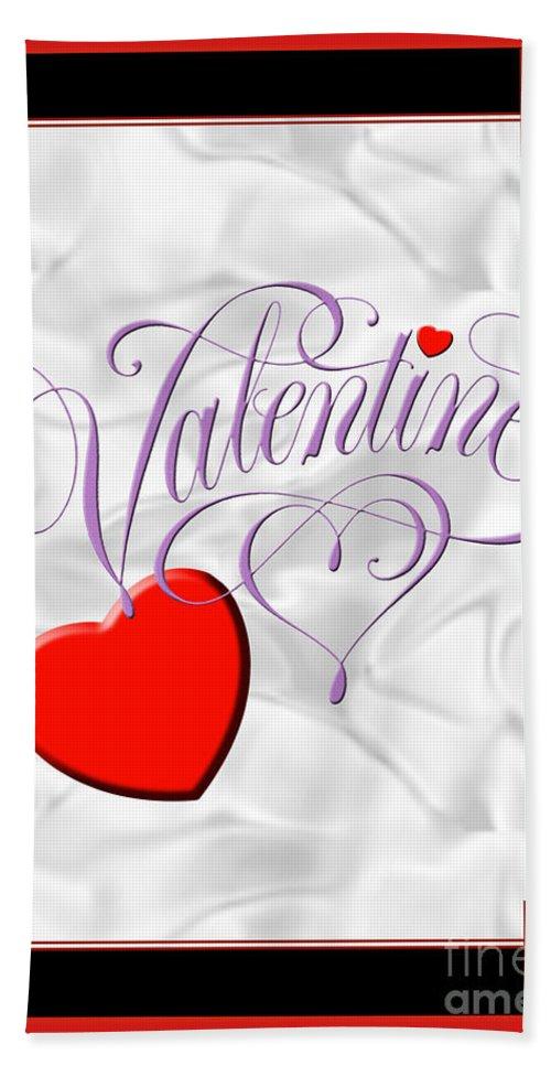 Valentine Card Hand Towel featuring the digital art Valentine Script by Melissa A Benson