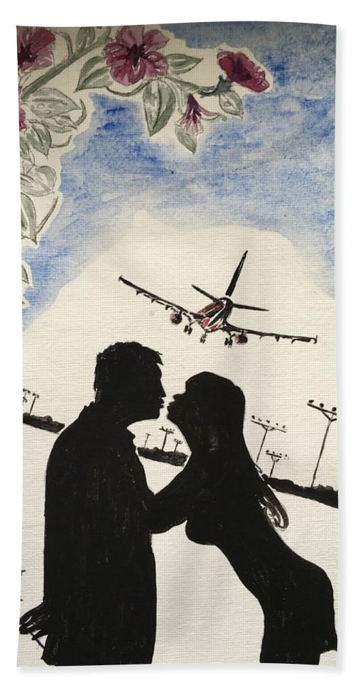 Valentine Kiss Plane Leaving Sunset Jet Plane Silhouette Rose Flowers Hand Towel featuring the painting Valentine Kiss by Kevin Braybon