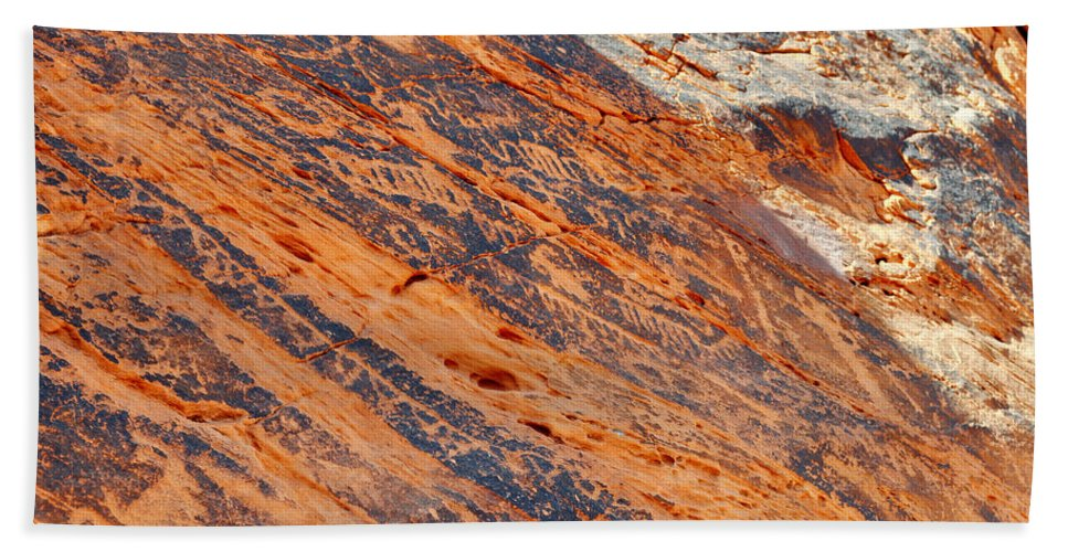 Valley Of Fire State Park Bath Sheet featuring the photograph Valley Of Fire Petroglyphs by Kyle Hanson