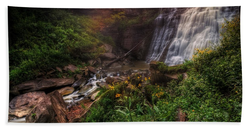 Waterfalls Hand Towel featuring the photograph Valley Of Golden Light by Neil Shapiro