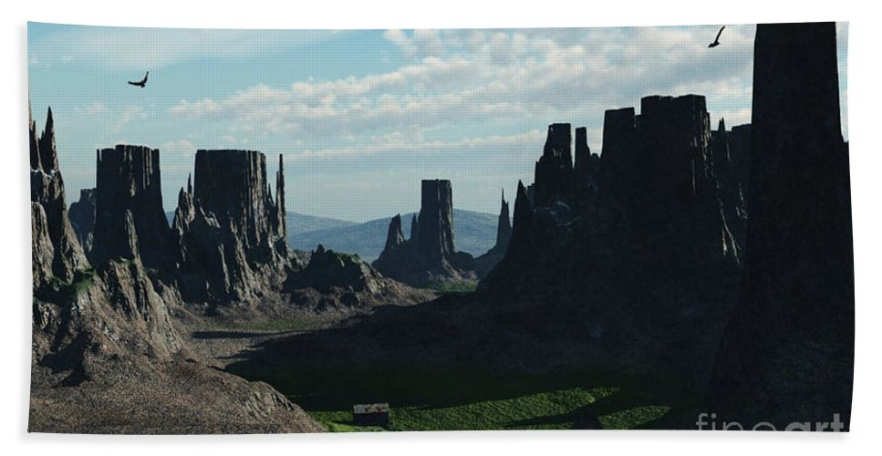 Valley Hand Towel featuring the digital art Valley Of The Kings by Richard Rizzo
