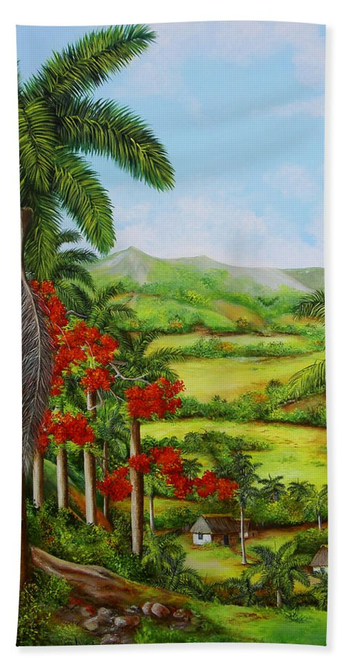 Palms Hand Towel featuring the painting Yumuri Valley by Dominica Alcantara