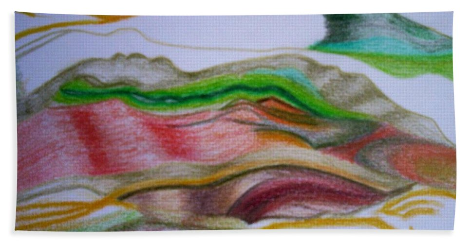 Abstract Hand Towel featuring the painting Valley Stream by Suzanne Udell Levinger