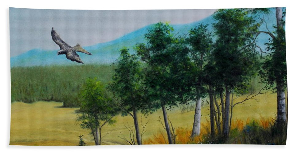 Mountains Hand Towel featuring the painting Valley View From Up The Hill by Jose Corona