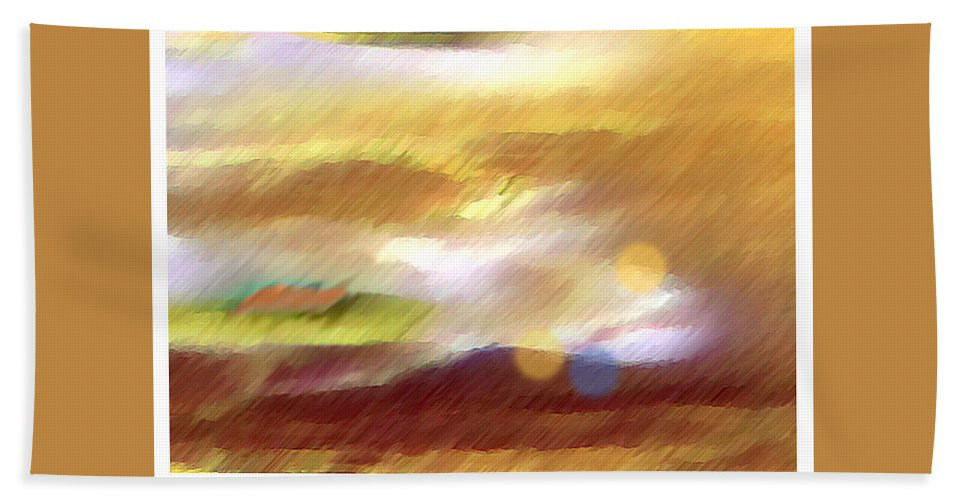 Landscape Bath Towel featuring the painting Valleylights by Anil Nene